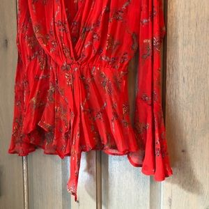 IRO Tops - IRO Red Floral Blouse!